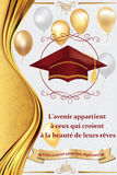 French graduation greeting card, also for print. French graduation greeting card: Congratulations on your graduations! Print colors used Stock Image