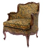 French green-golden armchair. French style green-golden armchair isolated on white background Royalty Free Stock Images