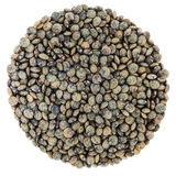 French Green Lentils Circle Isolated on White Background Stock Photos