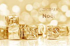 French greeting card small Christmas gifts Royalty Free Stock Image