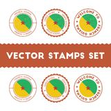French Guiana flag rubber stamps set. National flags grunge stamps. Country round badges collection Stock Photo
