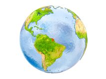 French Guiana on globe isolated. French Guiana highlighted in red on model of Earth. 3D illustration isolated on white background. Elements of this image Stock Photography