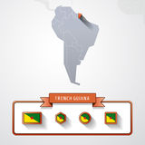 French Guiana info card. French Guiana on the map of South America with flags Royalty Free Stock Photo