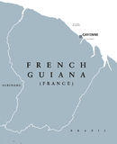 French Guiana political map Stock Images