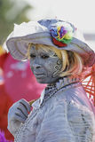 French Guiana's Annual Carnival 2011. KOUROU, FRENCH GUIANA - FEBRUARY 27: A mysterious parade-goer participates in French Guiana's Annual Carnival February 27 Stock Image