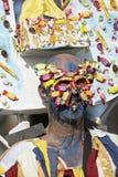 French Guiana's Annual Carnival 2011. KOUROU, FRENCH GUIANA - FEBRUARY 27: A mysterious parade-goer participates in French Guiana's Annual Carnival February 27 Royalty Free Stock Photo