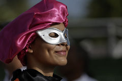 French Guiana's Annual Carnival 2011. KOUROU, FRENCH GUIANA - FEBRUARY 27: A mysterious parade-goer participates in French Guiana's Annual Carnival February 27 Royalty Free Stock Photography
