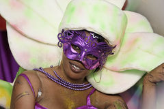 French Guiana's Annual Carnival 2011. KOUROU, FRENCH GUIANA - FEBRUARY 27: A mysterious parade-goer participates in French Guiana's Annual Carnival February 27 Royalty Free Stock Images