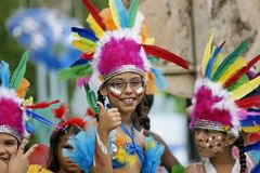 French Guiana's Annual Carnival. A young parade goer participated in French Guiana's Annual Carnival Stock Image