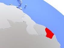 French Guiana on world map Stock Image