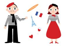 French attributes vector illustration