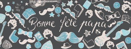 French Happy Father`s Day background. Franch Happy Father`s Day full vector large banner Stock Image