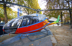 French helicopter. Red helicopter in an exposition, outdoor at paris Royalty Free Stock Images