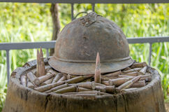 French Helmet and Bullets from World War 1 Royalty Free Stock Images
