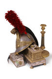 French helmet, inkstand and candlestick Stock Image