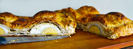 cut egg pie Royalty Free Stock Images