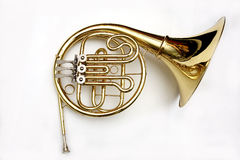 French Horn. Isolated over white Stock Photo