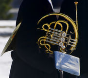 French Horn. With reflections of military honor band at Arlington National Cemetery Royalty Free Stock Photography