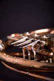 French Horn. On dark background Stock Photography