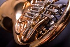 French Horn. On dark background Stock Photo