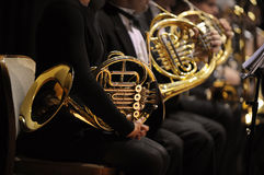 French horn. During a classical concert music Royalty Free Stock Image