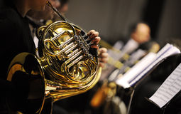 French horn. During a classical concert music Royalty Free Stock Photos