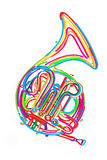 French horn. Stylized french horn against white background vector illustration