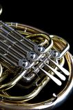 French Horn on Black Background Stock Photo