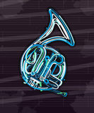 French horn card Royalty Free Stock Image
