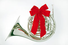 French Horn Christmas Ribbon Isolated Stock Photography