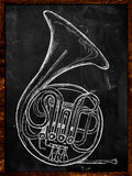 French horn drawing on blackboard Stock Images