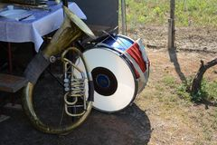 French horn and drum. On the ground Stock Photography