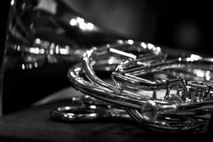 French horn Fragment closeup Royalty Free Stock Photography