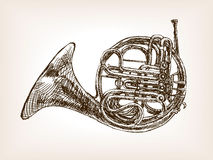 French horn hand drawn sketch style vector Royalty Free Stock Photos