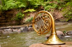French Horn Instrument Stock Photo