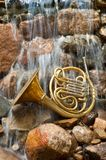 French Horn Instrument. Brass French Horn posed on a rock in a river Stock Photos