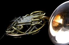 French Horn Isolated on Back Stock Images