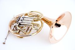 French Horn Isolated on White Stock Photo