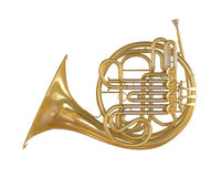 French Horn Isolated Stock Photography