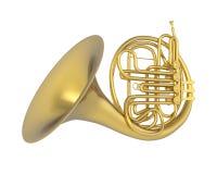French Horn Isolated. On white background. 3D render stock illustration