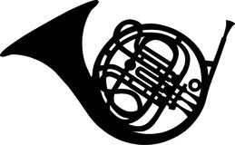 French Horn music. French Horn instrument music vector Stock Image