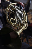 French horn. Musician play in orchestra Royalty Free Stock Photography