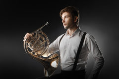 French horn musician portrait Royalty Free Stock Photo