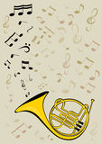 French horn and notes. Vector image of the French horn Stock Photography