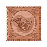French horn and oak woodcarving hunting theme vector Royalty Free Stock Photography