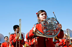French horn in parade Royalty Free Stock Photos