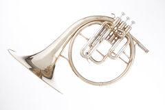 French horn Peckhorn Isolated on White Stock Photo