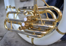 French horn pistons detail Stock Image