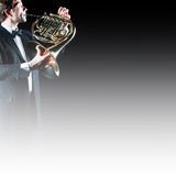 French horn player Stock Photos