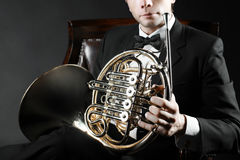 French horn music instrument Royalty Free Stock Photography